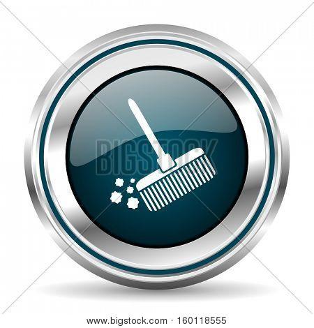 Clean vector icon. Chrome border round web button. Silver metallic pushbutton.