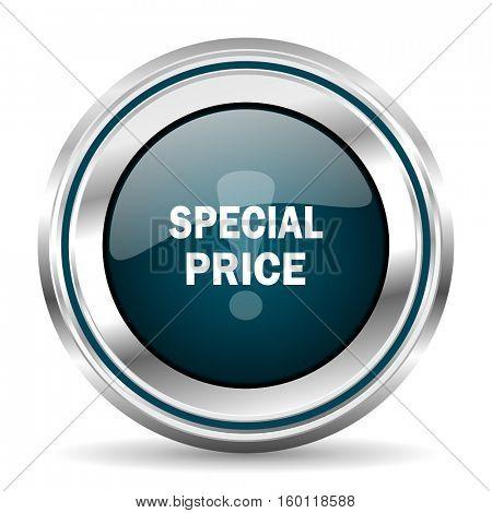 Special price vector icon. Chrome border round web button. Silver metallic pushbutton.