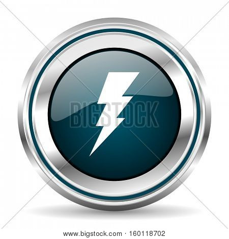 Electricity vector icon. Chrome border round web button. Silver metallic pushbutton.