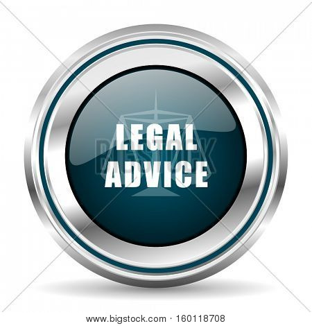 Legal advice vector icon. Chrome border round web button. Silver metallic pushbutton.