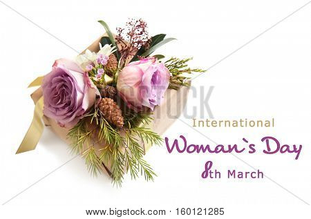 Handcrafted gift box with flowers on white background. Text INTERNATIONAL WOMAN'S DAY, 8TH MARCH
