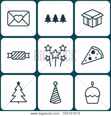Set Of 9 Holiday Icons. Can Be Used For Web, Mobile, UI And Infographic Design. Includes Elements Such As Muffin, Cake, Envelope And More.