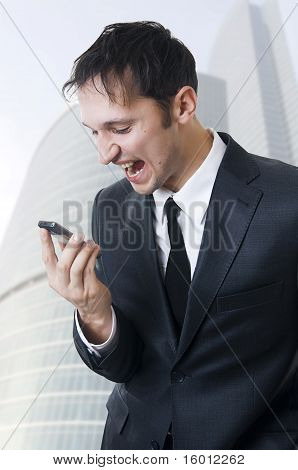 Angry Business Man Shouting On Phone