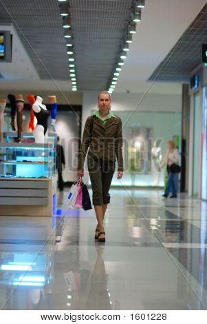 Girl Shopping In Mall