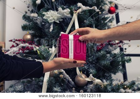 Hands of man giving a Christmas gift to girlfriend. Decorated christmas tree on background
