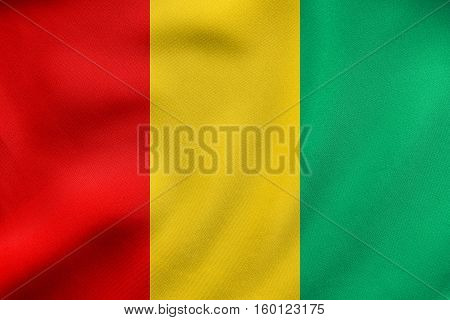 Flag Of Guinea Waving, Real Fabric Texture