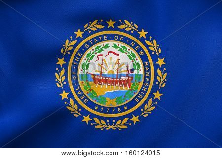Flag Of New Hampshire Waving, Real Fabric Texture
