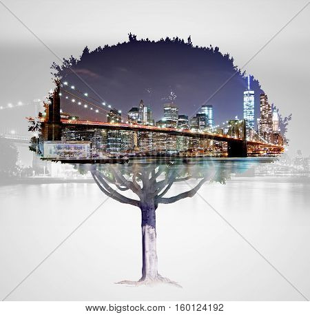 Abstract tree silhouette on city background. Double exposure. Eco concept