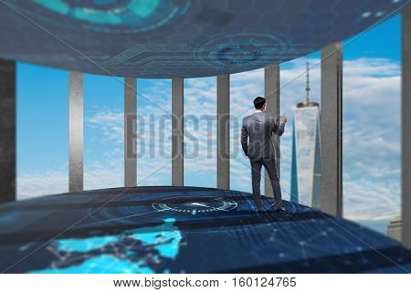 Businessman in front 3d rendered windows