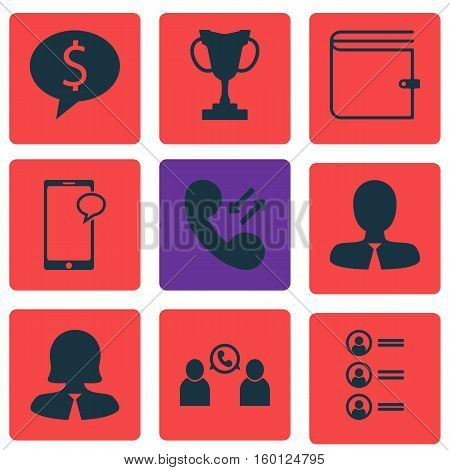 Set Of 9 Management Icons. Can Be Used For Web, Mobile, UI And Infographic Design. Includes Elements Such As Call, Employee, Female And More.