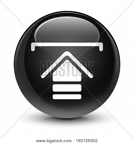 Upload Icon Glassy Black Round Button