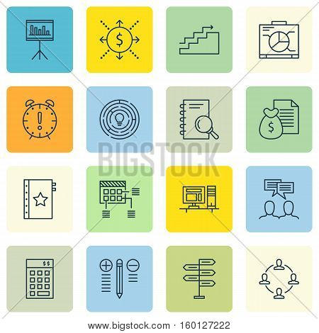 Set Of 16 Project Management Icons. Can Be Used For Web, Mobile, UI And Infographic Design. Includes Elements Such As Office, Meeting, Deadline And More.