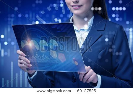 Businesswoman in online stock trading business concept