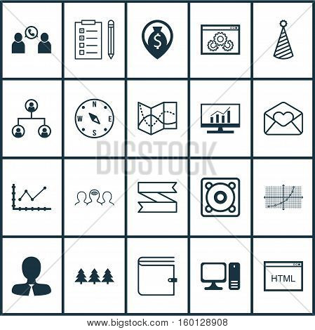 Set Of 20 Universal Editable Icons. Can Be Used For Web, Mobile And App Design. Includes Elements Such As Line Grid, Holiday Ornament, Changes Graph And More.