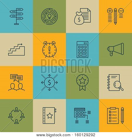 Set Of 16 Project Management Icons. Can Be Used For Web, Mobile, UI And Infographic Design. Includes Elements Such As Report, Budget, Meeting And More.