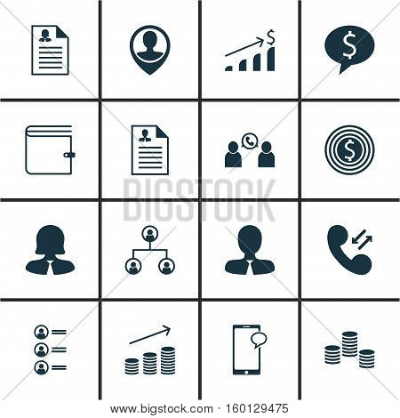 Set Of 16 Management Icons. Can Be Used For Web, Mobile, UI And Infographic Design. Includes Elements Such As Mobile, Coins, Wallet And More.