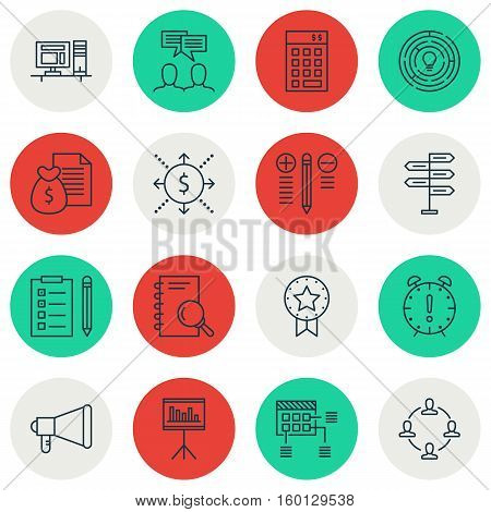 Set Of 16 Project Management Icons. Can Be Used For Web, Mobile, UI And Infographic Design. Includes Elements Such As Presentation, Schedule, Statistic And More.