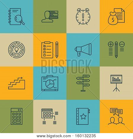 Set Of 16 Project Management Icons. Can Be Used For Web, Mobile, UI And Infographic Design. Includes Elements Such As Statistics, Fork, Finance And More.