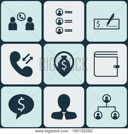 Set Of 9 Hr Icons. Can Be Used For Web, Mobile, UI And Infographic Design. Includes Elements Such As Cash, Dollar, Pin And More.