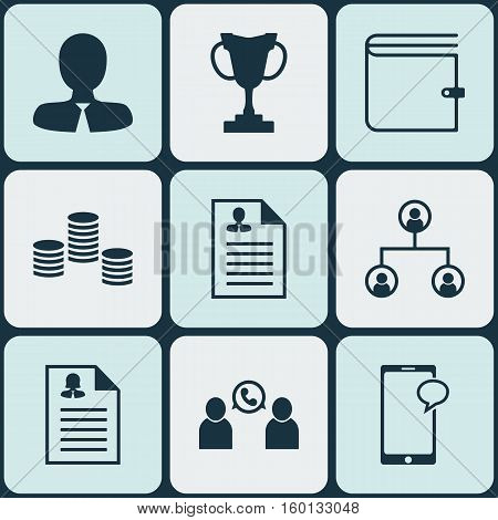 Set Of 9 Management Icons. Can Be Used For Web, Mobile, UI And Infographic Design. Includes Elements Such As Structure, Call, Profile And More.