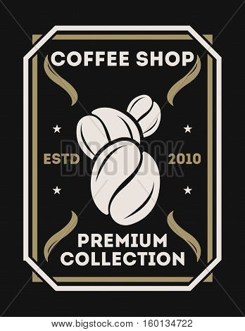 Coffee shop vintage isolated label set vector illustration. Coffee club symbol. Espresso, arabica beans logo. Hot and cold drink sign. Coffee logo emblem vector template