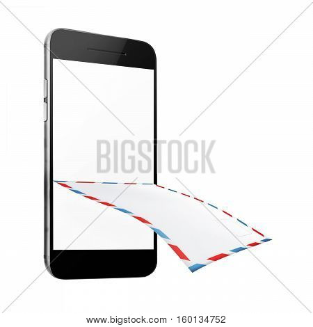 Post envelope and mobile smart phone isolated on white background. 3D illustration.
