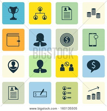 Set Of 16 Hr Icons. Can Be Used For Web, Mobile, UI And Infographic Design. Includes Elements Such As Money, List, Increase And More.