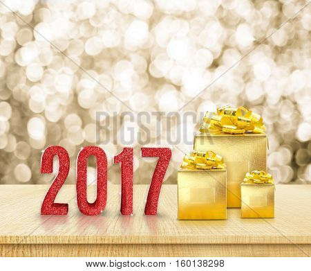 Happy New Year 2017 (3D Rendering) Red Glitter Word And Golden Present On Wood Table With Gold Spark