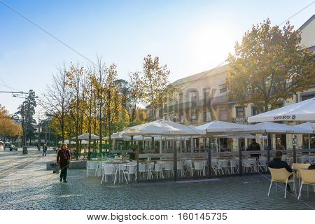 PORTO, PORTUGAL - November 18, 2016. Open-air cafes in Porto, Portugal, Europe, is the second largest city in Portugal, has a population of 1.4 million.