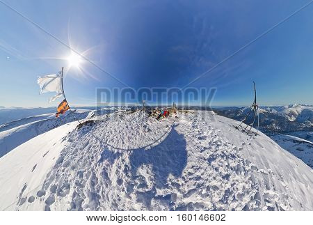 Aerial Photo Fisheye Couple Man And Woman In The Snowy Mountains