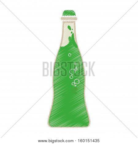 green soda bubbles drink bottle icon vector illustration eps 10