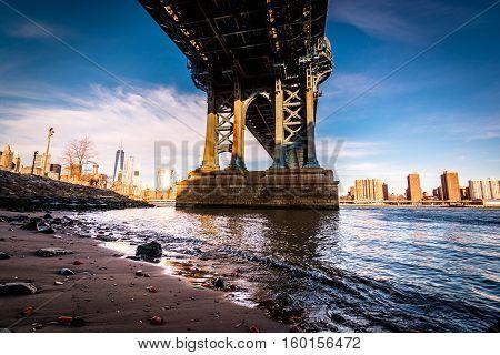 Down Under the Manhattan Bridge looking towards manhattan
