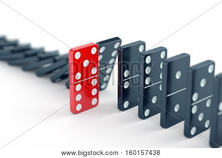 Unique red domino tile among many black dominoes. Standing out from crowd individuality and difference concept. 3D illustration