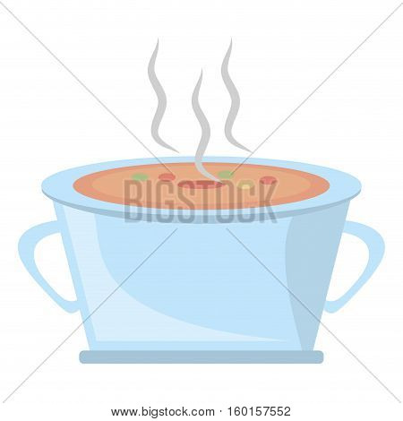 pot steel soup hot cooking design vector illustration eps 10
