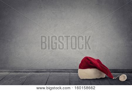 Santa's hat on a wooden floor