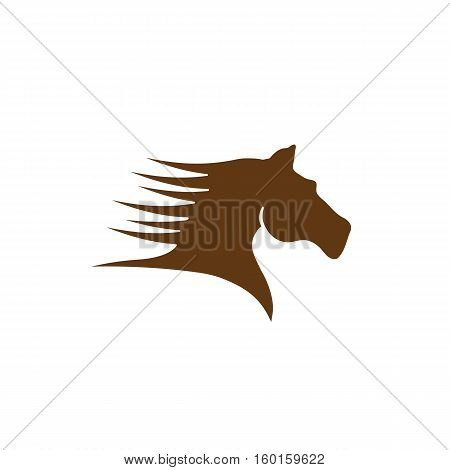 Vector sign brown horse, isolated in white