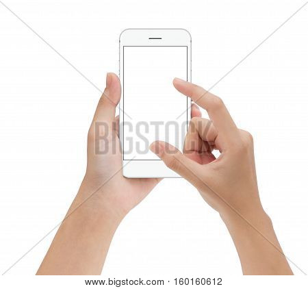 close-up hand touching phone mobile isolated on white mock up smartphone blank screen easy adjustment with clipping path