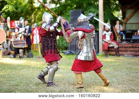 Two knight fighting during Middle Ages festival in Vilnius Lithuania