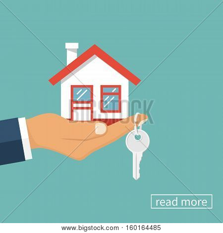 Hand agent with home in palm and key on finger. Offer of purchase house, rental of Real Estate. Giving, offering, demonstration, handing house keys. Vector illustration flat design.