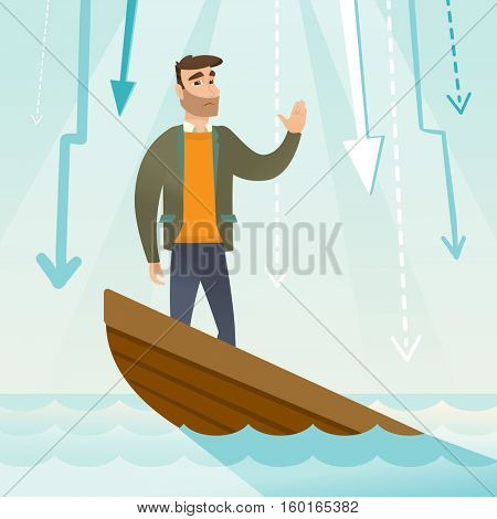 Caucasian businessman bankrupt standing in sinking boat and asking for help. Bankrupt sinking and arrows behind him symbolizing business bankruptcy. Vector flat design illustration. Square layout.