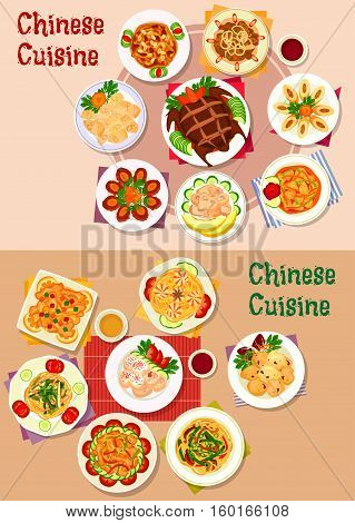 Chinese cuisine peking duck icon served with shrimp, pork, bean noodles, egg and chicken roll with pork, fried wonton, liver, lamb, sweet pork and chicken with fruit, beef coin patty, ginger chicken