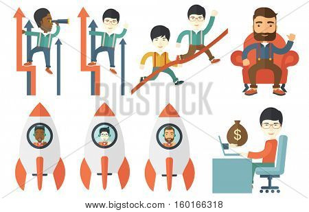Cheerful businessman flying in business start up rocket. Young happy business man launching new creative start up. Concept of successful start up. Vector set of illustrations with business people.