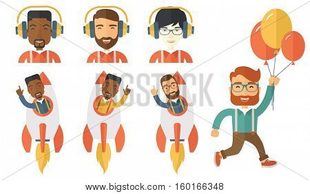 Young businessman flying in business start up rocket. Businessman working on new business start up. Business start up concept. Set of vector flat design illustrations isolated on white background.