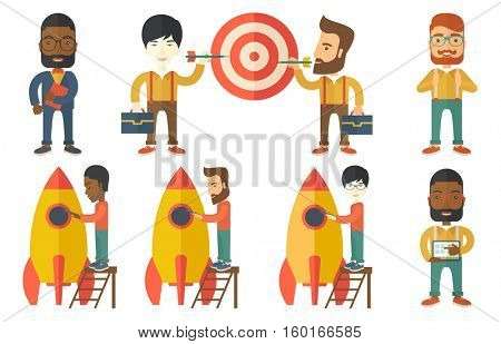 Young businessman engineering business start up rocket. Businessman working on new business start up. Business start up concept. Set of vector flat design illustrations isolated on white background.