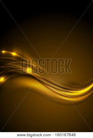 Golden smooth abstract luminous waves background. Vector bright glowing design