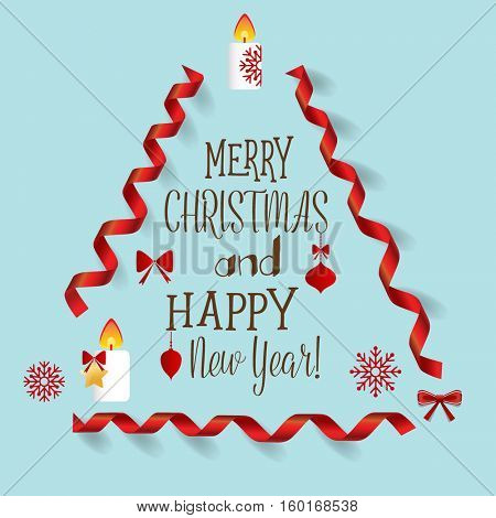 Christmas Greeting Card with Merry Christmas lettering, vector illustration