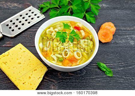 Soup Minestrone In White Bowl On Black Board