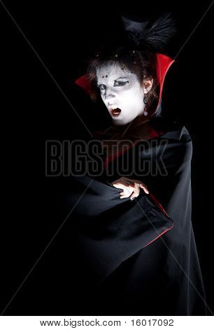 Female Vampire Showing Fangs
