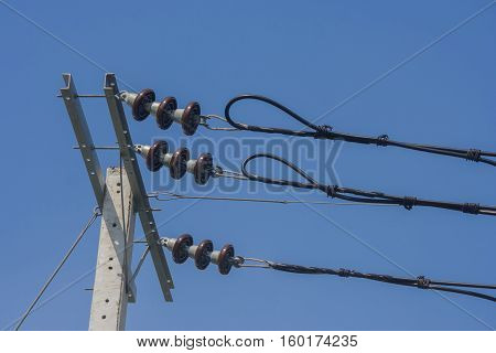 Insulators for high voltage on electric pole.