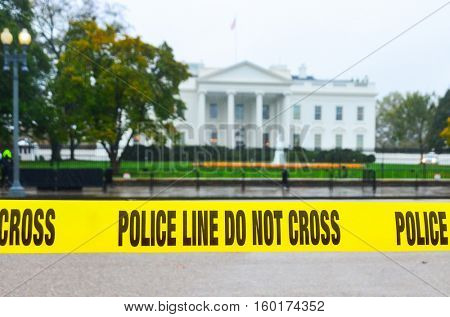 Police ribbon in front of The White House - Washington DC, USA